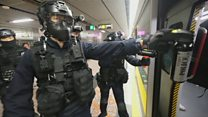 People beaten on Hong Kong metro by police