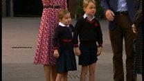 シャーロット英王女、初登校 兄ジョージ王子と共に