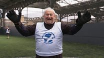 The 90-year-old goalie