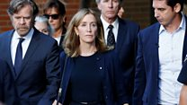 Felicity Huffman leaves court after sentencing