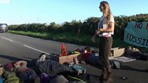 Climate protesters block oil refinery entrance