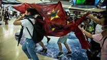 Hong Kong protests: China flag trampled