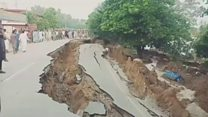Pakistan quake: Cracked roads and collapsed houses