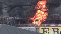 Crew members flee South Korea oil tanker fire