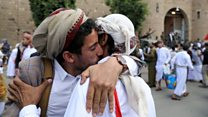 Yemen detainees celebrate after being freed