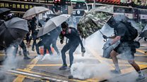 Protests, fire and tear gas in Hong Kong
