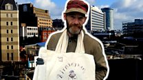 The homeless man with the bag business idea