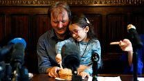 Nazanin's daughter cuts 'welcome home' cake with dad