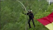 Parachutist hits pole on Spain's national day