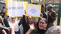 కశ్మీర్: ఆర్టికల్ 370 రద్దును వ్యతిరేకిస్తూ శ్రీనగర్లో మహిళల నిరసన