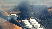Huge fire at California fuel facility