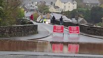 Flooding scenes from Wales