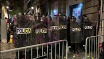 Chaos in Catalonia as protesters target police HQ