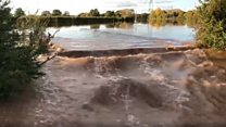 Road turned into river as Teme breaks its banks