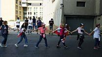 Protesters create a human chain across Lebanon