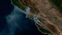 Smoke from California fire seen from space