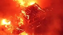 Massive fire engulfs Japanese castle