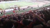 شعار برخی هواداران تیم تراکتور در حمایت از ترکیه