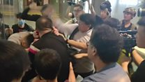 Knife attack amidst protests in HK shopping malls