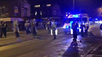 Police in riot gear tackle fireworks disturbance