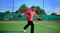 Tennis player marks 90th birthday on the court