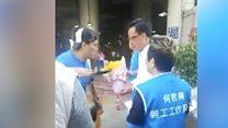 Video shows Hong Kong lawmaker stabbing