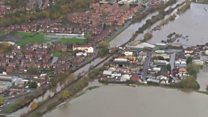 Aerial view of flooding in South Yorkshire