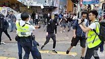 Hong Kong'da canlı yayında gösterici vuruldu