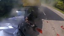 Dashcam footage shows lorry traffic smash