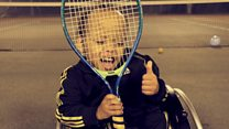 Paralysed boy, 3, defies odds to play tennis