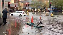 Footage shows Nottingham city centre flooding