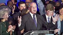 Democrat gives victory speech after Louisiana win