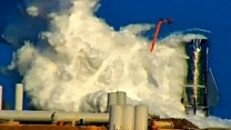 Space rocket erupts during pressure test