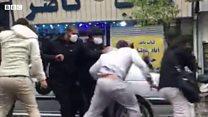 سرکوب معترضان در خیابان ستارخان تهران از نمای نزدیک
