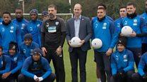 Prince William talks mental health with footballers