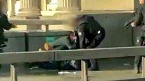 Moment man tackled on London Bridge