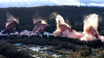 Power station's four cooling towers demolished
