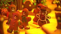 Gingerbread village lights up for Christmas