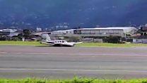 Plane spins on runway during emergency landing