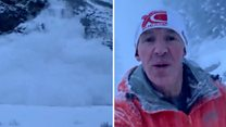 Chilled jogger calmly dodges avalanche