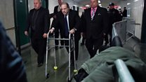 Weinstein dodders out of court with walking frame