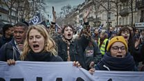 French protest against pension reforms