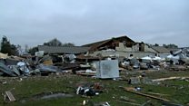 Footage of tornado damage in the US south