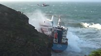 Dramatic storm rescue as ship hits cliff