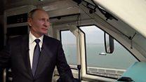 """""""Хотите гудок?"""" Путин проехался на поезде по Крымскому мосту"""