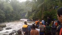 Search for survivors after bus crash in Indonesia