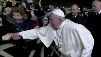 Pope's annoyance over arm yank
