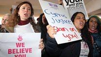 'We believe you': False rape claim protesters