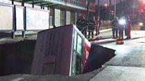 Aftermath of China bus sinkhole