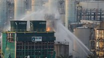 Huge blaze at Spanish chemical factory